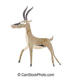 retro cartoon gazelle - freehand retro cartoon gazelle