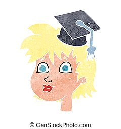 retro cartoon graduate woman