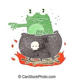 retro cartoon halloween toad in cauldron - freehand retro...