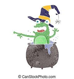 retro cartoon halloween toad - freehand retro cartoon...