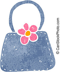 retro cartoon handbag - Retro cartoon illustration. On plain...