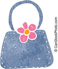 retro cartoon handbag - Retro cartoon illustration. On plain...