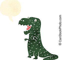 retro cartoon happy dinosaur