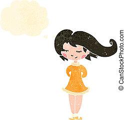 retro cartoon happy woman