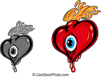 Retro cartoon heart with eye and fire