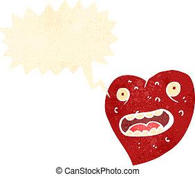 retro cartoon heart with speech bubble