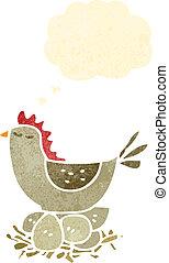 retro cartoon hen on nest of eggs