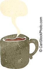 retro cartoon hot coffee