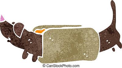 retro cartoon hotdog - Retro cartoon illustration. On plain ...