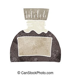 retro cartoon ink pot - freehand retro cartoon ink pot