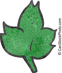 retro cartoon leaf symbol,