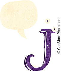 retro cartoon letter j with speech bubble