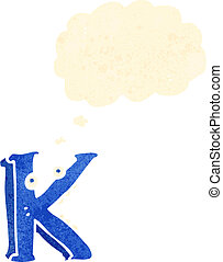 retro cartoon letter k with thought bubble