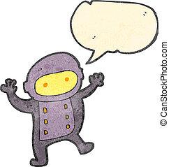 retro cartoon little spaceman