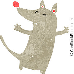 retro cartoon little wolf cub - Retro cartoon illustration. ...