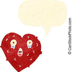 retro cartoon lonely heart with speech bubble