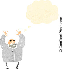 retro cartoon mad scientist with thought bubble