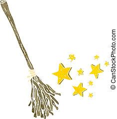 retro cartoon magic broom stick