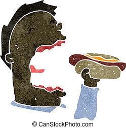 retro cartoon man eating hotdog - Retro cartoon illustration...