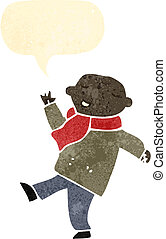retro cartoon man in winter scarf