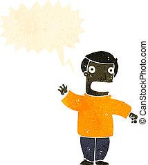 retro cartoon man shouting warning