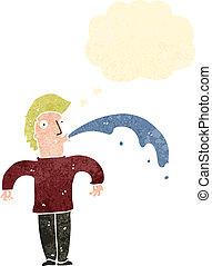 retro cartoon man spitting water