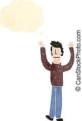 retro cartoon man with arms in air