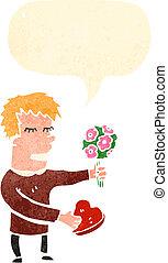 retro cartoon man with valentine gifts