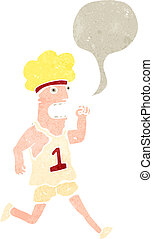 retro cartoon marathon runner