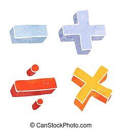retro cartoon math symbols
