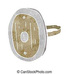 retro cartoon medieval shield