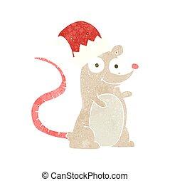 retro cartoon mouse wearing christmas hat - freehand retro...