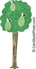 retro cartoon pear tree - Retro cartoon illustration. On...