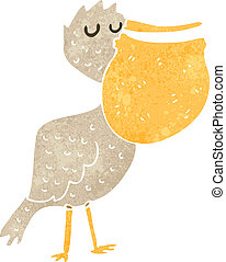 retro cartoon pelican - Retro cartoon illustration. On plain...