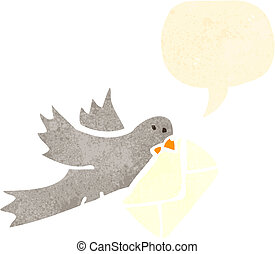 retro cartoon pigeon carrying letter