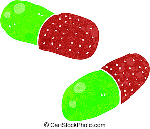 retro cartoon pills - Retro cartoon illustration. On plain ...