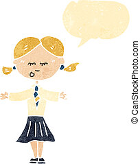 retro cartoon school girl