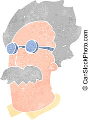 retro cartoon scientist face - Retro cartoon illustration....