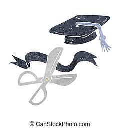 retro cartoon scissors cutting ribbon at graduation