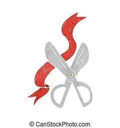 retro cartoon scissors cutting ribbon