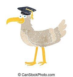 retro cartoon seagull with graduate cap