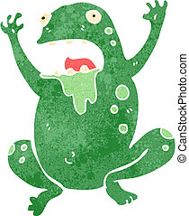 retro cartoon slimy toad - Retro cartoon illustration. On...