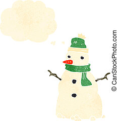 retro cartoon snowman with thought cloud