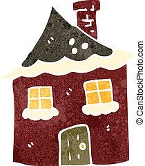 retro cartoon snowy cottage