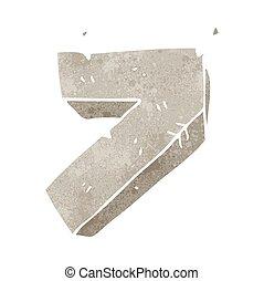 retro cartoon stone number seven