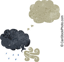 retro cartoon storm cloud with thought bubble