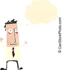 retro cartoon stressed out man