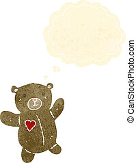 retro cartoon teddy bear with thought bubble