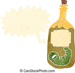retro cartoon tequila bottle with worm