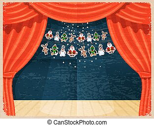Retro Cartoon theater. Theater curtain with spotlights beam, stars and garlands with Santa